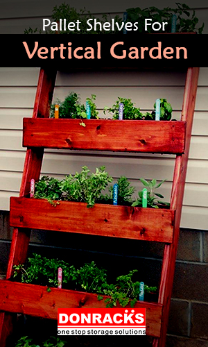 Image Showing Pallet Shelves For Your Vertical Garden Ideas.