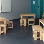 A Set Of Pallet Wood Chairs And Tables Placed On An Empty Classroom.