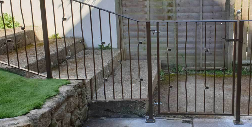 Side view of garden metal gate